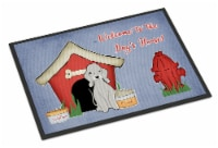Dog House Collection Bedlington Terrier Blue Indoor or Outdoor Mat 24x36