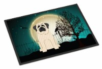 Halloween Scary Mastiff White Indoor or Outdoor Mat 18x27