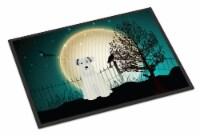 Halloween Scary Miniature Schanuzer White Indoor or Outdoor Mat 18x27 - 18Hx27W