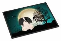 Halloween Scary Pekingnese Black White Indoor or Outdoor Mat 18x27 - 18Hx27W