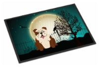 Halloween Scary  English Bulldog Brindle White Indoor or Outdoor Mat 18x27 - 18Hx27W