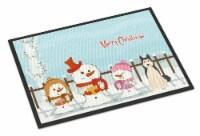 Merry Christmas Carolers West Siberian Laika Spitz Indoor or Outdoor Mat 18x27 - 18Hx27W