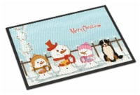 Merry Christmas Carolers Bernese Mountain Dog Indoor or Outdoor Mat 18x27 - 18Hx27W
