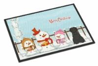 Merry Christmas Carolers Briard Black Indoor or Outdoor Mat 18x27