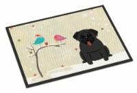 Christmas Presents between Friends Pug Black Indoor or Outdoor Mat 18x27