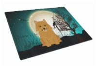 Halloween Scary Norwich Terrier Glass Cutting Board Large