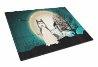 Halloween Scary West Siberian Laika Spitz Glass Cutting Board Large - 12Hx15W