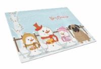 Merry Christmas Carolers Pug Brown Glass Cutting Board Large - 12Hx15W