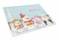 Merry Christmas Carolers Old English Sheepdog Glass Cutting Board Large - 12Hx15W