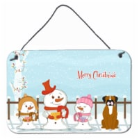 Merry Christmas Carolers Flashy Fawn Boxer Wall or Door Hanging Prints - 8HX12W