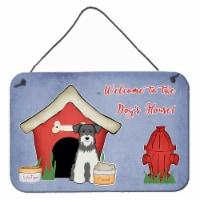 Dog House Collection Miniature Schanuzer Salt and Pepper Wall or Door Hanging Pr - 8HX12W