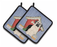 Dog House Collection Mastiff White Pair of Pot Holders - Standard