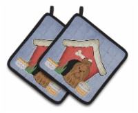 Dog House Collection Shih Tzu Silver Chocolate Pair of Pot Holders