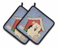 Dog House Collection Chow Chow White Pair of Pot Holders