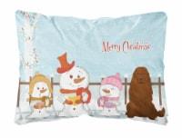 Merry Christmas Carolers Caucasian Shepherd Dog Canvas Fabric Decorative Pillow