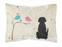 Christmas Presents between Friends Black Labrador Canvas Fabric Decorative Pillo