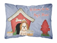 Dog House Collection Shih Tzu Red White Canvas Fabric Decorative Pillow