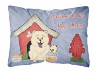 Dog House Collection Chow Chow White Canvas Fabric Decorative Pillow
