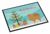 Pomeranian Merry Christmas Tree Indoor or Outdoor Mat 18x27