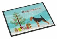 Welsh Terrier Merry Christmas Tree Indoor or Outdoor Mat 24x36