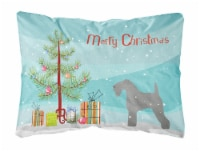 Kerry Blue Terrier Merry Christmas Tree Canvas Fabric Decorative Pillow - 12Hx16W