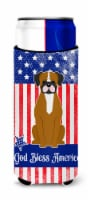Patriotic USA Flashy Fawn Boxer Michelob Ultra Hugger for slim cans