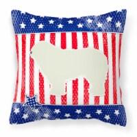 USA Patriotic Komondor Fabric Decorative Pillow - 14Hx14W