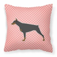 Doberman Pinscher Checkerboard Pink Fabric Decorative Pillow - 14Hx14W