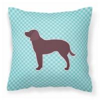 American Water Spaniel  Checkerboard Blue Fabric Decorative Pillow