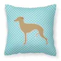 Italian Greyhound Checkerboard Blue Fabric Decorative Pillow