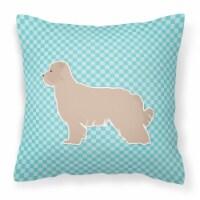 Pyrenean Shepherd Checkerboard Blue Fabric Decorative Pillow - 14Hx14W