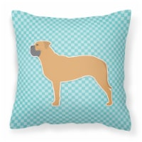 Bullmastiff Checkerboard Blue Fabric Decorative Pillow