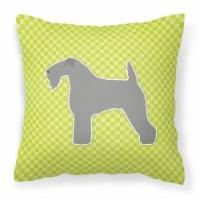Kerry Blue Terrier Checkerboard Green Fabric Decorative Pillow