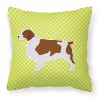 Welsh Springer Spaniel Checkerboard Green Fabric Decorative Pillow - 14Hx14W