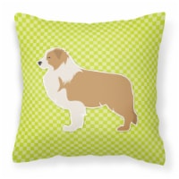 Red Border Collie Checkerboard Green Fabric Decorative Pillow