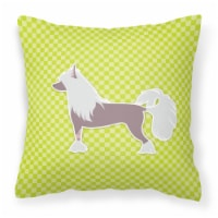 Chinese Crested Checkerboard Green Fabric Decorative Pillow