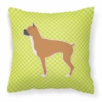 Boxer Checkerboard Green Fabric Decorative Pillow - 14Hx14W