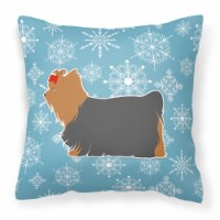 Winter Snowflake Yorkshire Terrier Yorkie Fabric Decorative Pillow