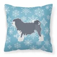 Winter Snowflake Lowchen Fabric Decorative Pillow