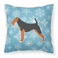 Winter Snowflake Airedale Terrier Fabric Decorative Pillow - 18Hx18W