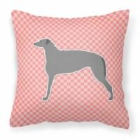 Scottish Deerhound Checkerboard Pink Fabric Decorative Pillow