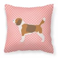 Beagle Checkerboard Pink Fabric Decorative Pillow