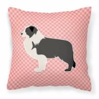 Black Border Collie Checkerboard Pink Fabric Decorative Pillow