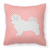 Maltese Checkerboard Pink Fabric Decorative Pillow