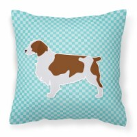 Welsh Springer Spaniel  Checkerboard Blue Fabric Decorative Pillow