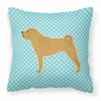 Shar Pei Checkerboard Blue Fabric Decorative Pillow
