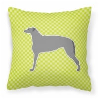Scottish Deerhound Checkerboard Green Fabric Decorative Pillow