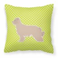 Pyrenean Shepherd Checkerboard Green Fabric Decorative Pillow