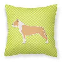 Staffordshire Bull Terrier Checkerboard Green Fabric Decorative Pillow