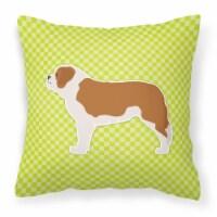 Saint Bernard Checkerboard Green Fabric Decorative Pillow